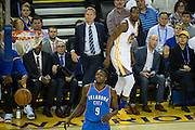 Golden State Warriors forward Kevin Durant (35) watches a three point shot swish against the Oklahoma City Thunder at Oracle Arena in Oakland, Calif., on November 3, 2016. (Stan Olszewski/Special to S.F. Examiner)