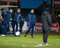 Dundee manager James McPake. Dundee 2 v 0 Partick Thistle, Scottish Championship game played 8/2/2020 at Dundee stadium Dens Park.