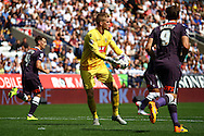 Bolton Wanderers Goalkeeper Ben Amos claims the ball. Skybet football league championship match, Bolton Wanderers v Derby County at the Macron stadium in Bolton, Lancs on Saturday 8th August 2015.<br /> pic by Chris Stading, Andrew Orchard sports photography.