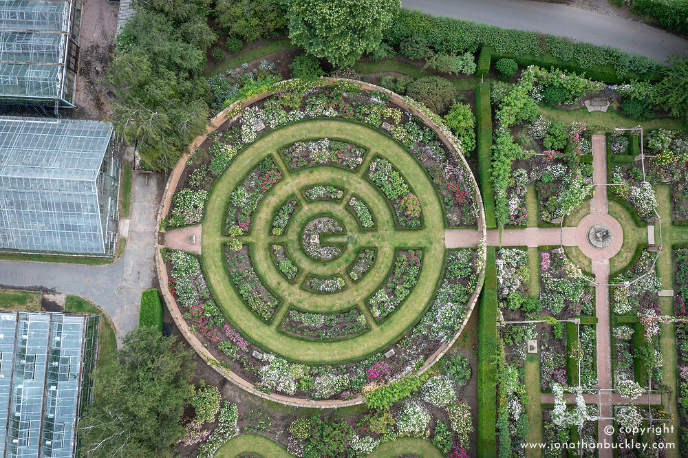 Aerial view of The Victorian  and Long Garden at The David Austin Rose Gardens