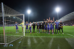 Players of NK Maribor celebrate victory after football match between NK Maribor and Panathinaikos Athens F.C. (GRE) in 1st Round of Group Stage of UEFA Europa league 2013, on September 20, 2012 in Stadium Ljudski vrt, Maribor, Slovenia. (Photo By Matic Klansek Velej / Sportida)