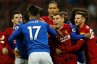 Football - 2019 / 2020 Premier League - Liverpool vs. Newcastle United<br /> <br /> Ayoze Perez of Leicester City confronts Liverpool players in the penalty area after the final whistle, at Anfield.<br /> <br /> COLORSPORT/ALAN MARTIN