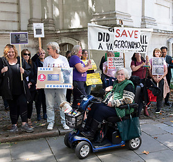 Alpaca Protest outside DEFRA, Smith Square, Westminster, London, Great Britain <br /> 9th August 2021 <br /> <br /> Animal rights protestors last minute bid to save Geronimo the alpaca who tested positive for bovine TB - owner Helen Macdonald who imported him from NZ said that she believes the tests are returning a false positive result. A warrant was signed for his destruction - the protest is organised by the Alpaca Society, Born Free Foundation and bovine TB expert Dr Iain McGill. <br /> <br /> <br /> <br /> <br /> Photograph by Elliott Franks