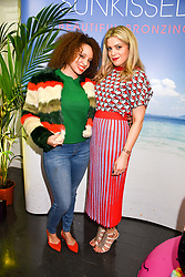 Left to right, Pandora Christie and Olivia Cox at the Sunkissed Cosmetics Launch,  15 Bateman Street, Soho, London England. 17 January 2018.