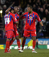 Photo: Matt Bright/Sportsbeat Images.<br /> Crystal Palace v Sheffield Wednesday. Coca Cola Championship. 15/12/2007.<br /> Sean Scannell, scorer of Crystal Palace's winner is congratulated by  Clinton Morrisson