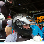 Winter Olympics, Vancouver, 2010.Germany-1 Four man Bobsleigh pilot Andre Lange during the Bobsleigh Four-man competition at The Whistler Sliding Centre, Whistler, during the Vancouver Winter Olympics. 27th February 2010. Photo Tim Clayton