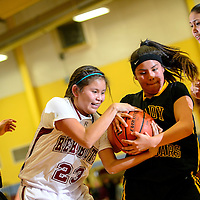 020714  Adron Gardner/Independent<br /> <br /> Rehoboth Lynx Leah Dae Francisco (23), left, and Tohatchi Cougar Kywah Johns (3) tie up for possession in Rehoboth Friday.