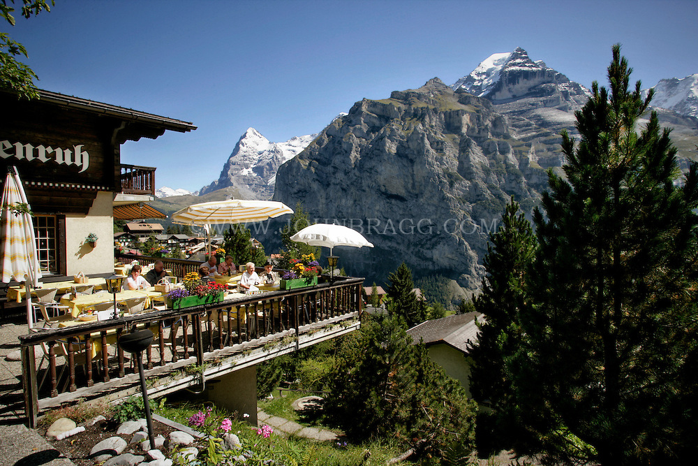 Hotel Alpenruh with a view of the Eiger Mountains, Murren, Switzerland