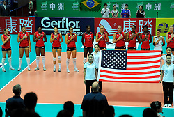 26-08-2010 VOLLEYBAL: WGP FINAL USA - ITALY: BEILUN NINGBO<br /> The United States convincingly beat Italy in straight sets / USA listen to the National Anthem<br /> ©2010-WWW.FOTOHOOGENDOORN.NL