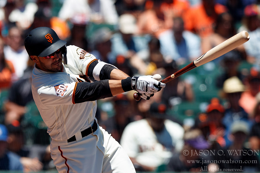 SAN FRANCISCO, CA - JULY 15: Chase d'Arnaud #2 of the San Francisco Giants at bat against the Oakland Athletics during the first inning at AT&T Park on July 15, 2018 in San Francisco, California. The Oakland Athletics defeated the San Francisco Giants 6-2. (Photo by Jason O. Watson/Getty Images) *** Local Caption *** Chase d'Arnaud