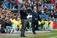 Real Madrid´s coach Rafa Benitez (R) and Real Sociedad´s coach Eusebio Sacristan during La Liga match between Real Madrid and Real Sociedad at Santiago Bernabeu stadium in Madrid, Spain. December 30, 2015. (ALTERPHOTOS/Victor Blanco)