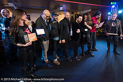 EICMA Custom's awards ceremony during EICMA, the largest international motorcycle exhibition in the world. Milan, Italy. November 21, 2015.  Photography ©2015 Michael Lichter.