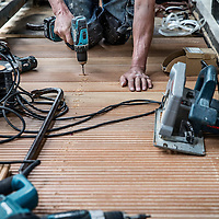 Nederland, Amsterdam, 1 september 2016.<br />Balkonwerkzaamheden bij woningen van Stadgenoot aan de Amstelveenseweg.<br /><br /><br /><br />Foto: Jean-Pierre Jans
