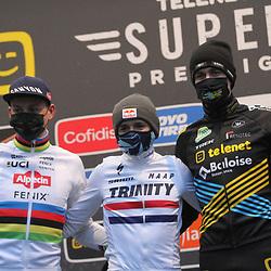 13-12-2020: Wielrennen: Veldrijden Telenet Superprestige: Gavere<br /> Tomas Pidcock, Mathieu van der Poel, Thijs Aerts