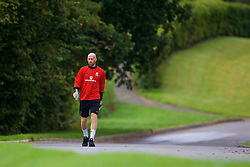 CARDIFF, WALES - Tuesday, August 29, 2017: Wales' James Collins arrives for a training session at the Vale Resort ahead of the 2018 FIFA World Cup Qualifying Group D match against Austria. (Pic by David Rawcliffe/Propaganda)