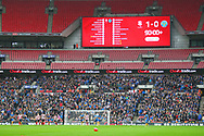 The scoreboard at 90 minutes during the EFL Trophy Final match between Lincoln City and Shrewsbury Town at Wembley Stadium, London, England on 8 April 2018. Picture by John Potts.