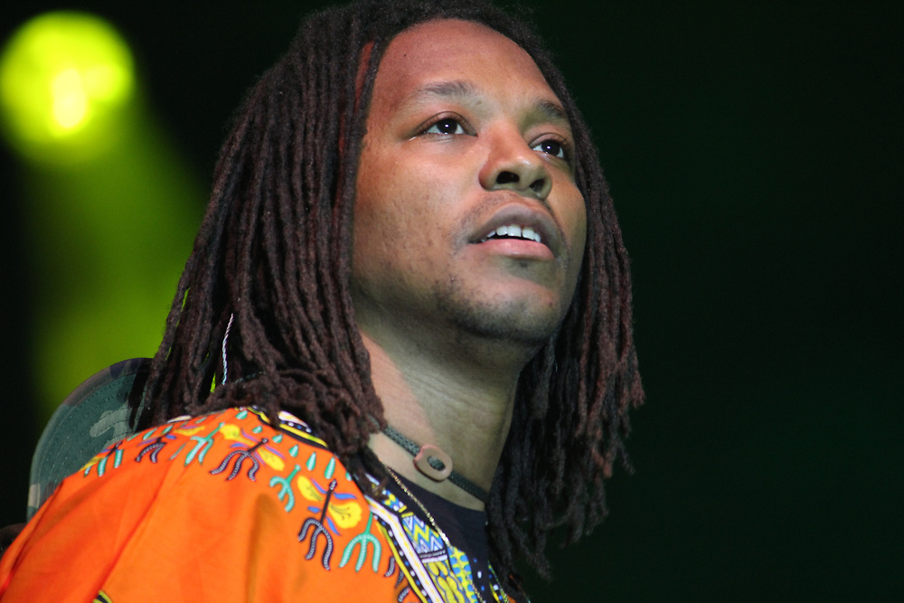 Lupe Fiasco performing at the AAHH! Fest in Chicago, IL on September 21, 2014.
