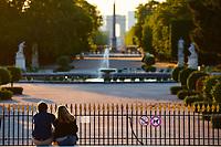 Paris , France - April 26 , 2020 :  Paris France lock down coronavirus covid-19 quarantine