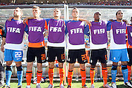 14 JUN 2010:  Members of the Netherlands bench: (l-r) Sander Boschker (NED)(22), Klaas Jan Huntelaar (NED)(21), Khalid Boulahrouz (NED)(12), Ibrahim Afellay (NED)(20), Edson Braafheid (NED)(15), Michel Vorm (NED)(16).  The Netherlands National Team led the Denmark National Team 1-0 at the end of the 2st half at Soccer City Stadium in Johannesburg, South Africa in a 2010 FIFA World Cup Group E match.