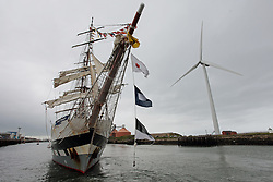 Licensed to London News Pictures. 30/06/2013. Blyth, Northumberland, UK, Sail training vessel Stavros S Nicarchos leaves the port of Blyth after she was the centrepiece of the Blyth Renewables Festival. Blyth is develping major business in the renewable energy sector. Photo credit: Adrian Don/LNP