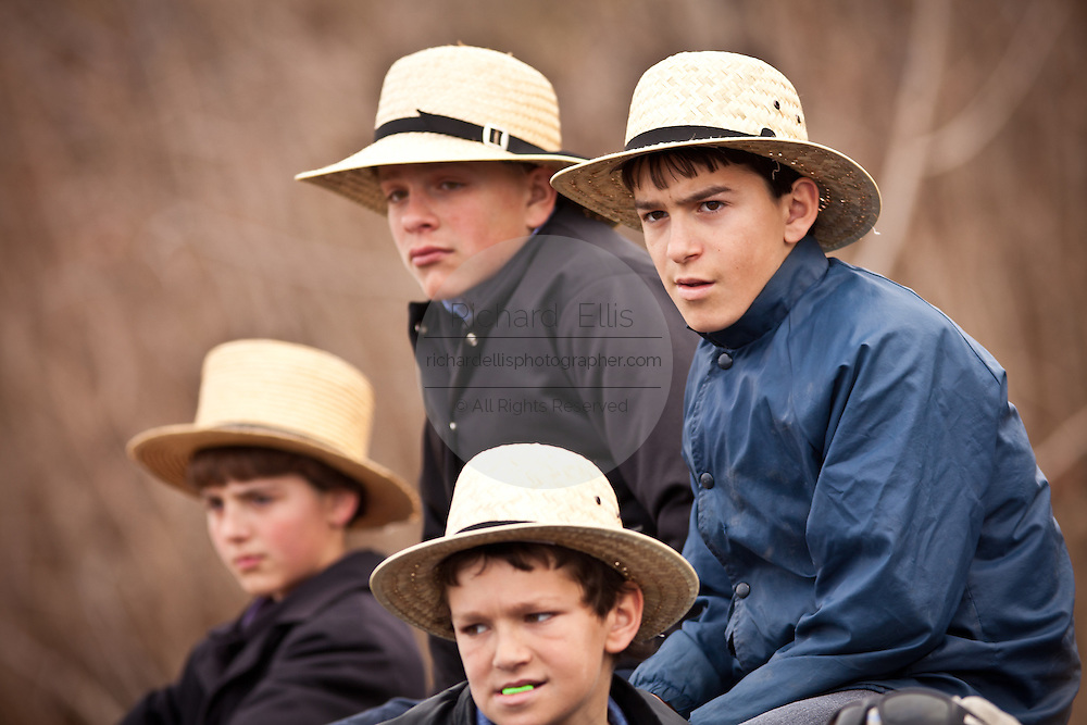 Amish boys during the Annual Mud Sale to support the Fire Department  in Gordonville, PA.