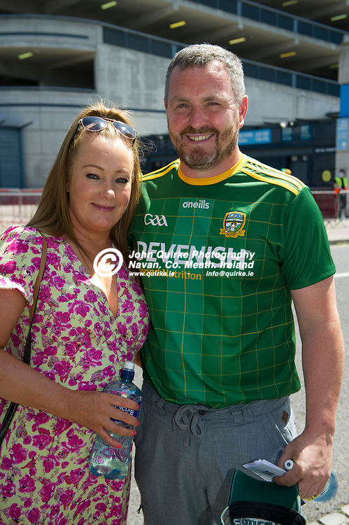 18-07-21. Meath v Dublin - Leinster SFC Semi-Final at Croke Park.<br /> Denise and Emmett Farrell from Trim arriving  in Croke Park to support Meath in Leinster SFC Semi-Final.<br /> Photo: John Quirke / www.quirke.ie<br /> ©John Quirke Photography, 16 Proudstown Road, Navan. Co. Meath. (info@quirke.ie / 046-9028461 / 087-2579454).