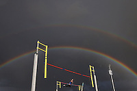 MELBOURNE, AUSTRALIA - DECEMBER 08:  A rainbow appears as a male athlete competes in the Steve Hooker Pole Vault Challenge during the Zatopek 10 Australian 10,000m Championships on December 8, 2016 in Melbourne, Australia.  (Photo by Michael Dodge/Getty Images)
