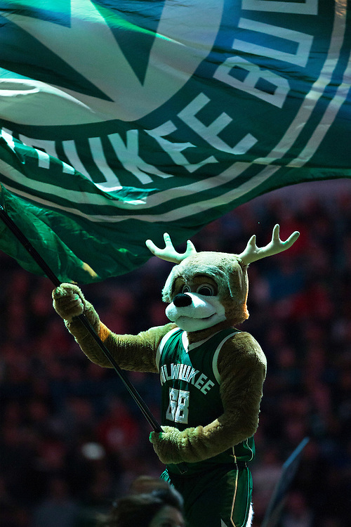 """MILWAUKEE, WI- JANUARY 4:  Bango, mascot of the Milwaukee Bucks performs before a game against the San Antonio Spurs at BMO Harris Bradley Center on January 4, 2016 in Milwaukee, Wisconsin.  """"NOTE TO USER: User expressly acknowledges and agrees that, by downloading and or using this photograph, User is consenting to the terms and conditions of the Getty Images License Agreement.""""(Photo by Wesley Hitt/Getty Images) *** Local Caption *** Bango"""