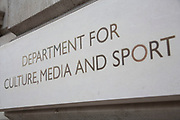 Sign for the Department for Culture, Media and Sport. London, UK. The Department for Culture, Media and Sport (DCMS) is a department of the UK government, with responsibility for culture and sport in England, and some aspects of the media throughout the whole UK, such as broadcasting and internet. It also has responsibility for the tourism, leisure and creative industries (some joint with Department for Business, Innovation and Skills).