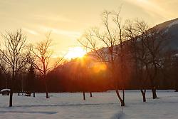 THEMENBILD - Bäume in Winterlandschaft bei Sonnenuntergang, aufgenommen am 28. Februar 2018, Zell am See, Österreich // Trees in winter landscape at sunset on 2018/02/28, Zell am See, Austria. EXPA Pictures © 2018, PhotoCredit: EXPA/ Stefanie Oberhauser