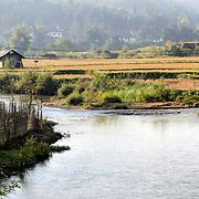 The river and surrounding rice farmland near Sam Neua (also spelled Samneua, Xamneua and Xam Neua) in northeastern Laos.