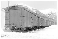 Box car #3101 on end of long string of box cars.<br /> D&RGW  Silverton, CO