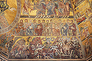 The Medieval mosaics of the ceiling of The Baptistry of Florence Duomo ( Battistero di San Giovanni ) showing the Apostles seated above scenes from the Last Judgement,  started in 1225 by Venetian craftsmen in a Byzantine style and completed in the 14th century. Florence Italy .<br /> <br /> If you prefer you can also buy from our ALAMY PHOTO LIBRARY  Collection visit : https://www.alamy.com/portfolio/paul-williams-funkystock/byzantine-art-antiquities.html . Type -   Florence   - into the LOWER SEARCH WITHIN GALLERY box. Refine search by adding subject etc<br /> <br /> Visit our BYZANTINE ART PHOTO COLLECTION for more   photos  to download or buy as prints https://funkystock.photoshelter.com/gallery-collection/Roman-Byzantine-Art-Artefacts-Antiquities-Historic-Sites-Pictures-Images-of/C0000lW_87AclrOk .<br /> <br /> Visit our ITALY PHOTO COLLECTION for more   photos of Italy to download or buy as prints https://funkystock.photoshelter.com/gallery-collection/2b-Pictures-Images-of-Italy-Photos-of-Italian-Historic-Landmark-Sites/C0000qxA2zGFjd_k<br /> .<br /> <br /> Visit our MEDIEVAL PHOTO COLLECTIONS for more   photos  to download or buy as prints https://funkystock.photoshelter.com/gallery-collection/Medieval-Middle-Ages-Historic-Places-Arcaeological-Sites-Pictures-Images-of/C0000B5ZA54_WD0s