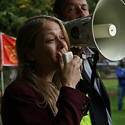 Harringay, London, England, UK. 23rd September 2017. speaker Sain Berry protest fighting for Social Housing Not Social Cleansing against council sold out Social Housing of £2 billion to HDV demolition and could be affected thousand of a family could become homelessness with no grantee of rehousing dumbing them to the Channel Islands with no family or friends supports.