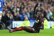 Yaya Toure of Manchester City reacts as he appeals for a foul. Premier league match, Everton v Manchester City at Goodison Park in Liverpool, Merseyside on Sunday 15th January 2017.<br /> pic by Chris Stading, Andrew Orchard sports photography.