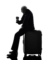One Caucasian Senior Business Man Checking Time Silhouette White Background