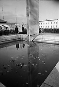 Garda Memorial Unveiled. Mr. Brian Lenihan T.D., Minister for Justice, unveils a Memorial to members of the force who gave their lives in the service of their country, at the Garda Headquarters, Phoenix Park, Dublin.21.10.1966