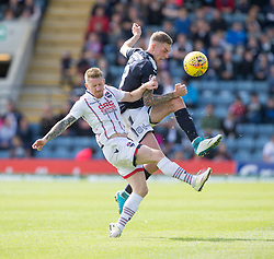 Ross County's Michael Gardyne and Dundee's Kevin Holt. Dundee 1 v 2 Ross County, Scottish Premiership game played 5/8/2017 at Dundee's home ground Dens Park.