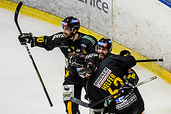 Tommaso Traversa of HC Pustertal Wolfe with Raphael Andergassen of HC Pustertal Wolfe and Armin Helfer of HC Pustertal Wolfe during Ice Hockey match between HK SZ Olimpija and HC Pustertal Wolfe in 3rd Final game of Alps Hockey League 2018/19, on April 14th, 2019, in Hala Tivoli, Ljubljana, Slovenia. Photo by Grega Valancic
