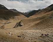 """Trekking from Baiqara camp into the Tash Köpruk valley, leading to Pakistan. Guiding and photographing Paul Salopek while trekking with 2 donkeys across the """"Roof of the World"""", through the Afghan Pamir and Hindukush mountains, into Pakistan and the Karakoram mountains of the Greater Western Himalaya."""