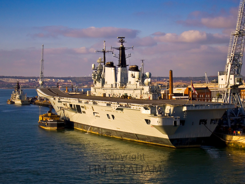 Aircraft carrier HMS Invincible moored at Portsmouth Harbour, England