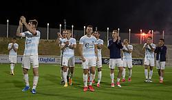 FC Helsingørs spillere takker fans efter kampen i 1. Division mellem FC Helsingør og Silkeborg IF den 11. september 2020 på Helsingør Stadion (Foto: Claus Birch).
