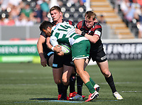 Rugby Union - 2021 Green King IPA Championship - Final, 1st leg - Ealing Trailfinders vs Saracens - Trailfinders Sports Ground<br /> <br /> Ealing Trailfinders' Dean Hammond is tackled by Saracens' Owen Farrell and Nick Tompkins.<br /> <br /> COLORSPORT/ASHLEY WESTERN
