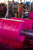 Inde, Rajasthan, Usine de Sari, teinture des tissus destines a la confection des saris. // India, Rajasthan, Sari Factory, dyeing of the textile using for sari..