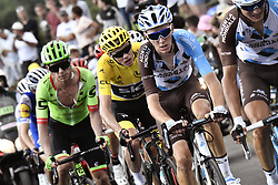July 16, 2017 - Puy En Velay, France - LE PUY-EN-VELAY, FRANCE - JULY 16 : BARDET Romain (FRA) Rider of Team AG2R La Mondiale is leading the group in front of FROOME Christopher (GBR) Rider of Team SKY during stage 15 of the 104th edition of the 2017 Tour de France cycling race, a stage of 189.5 kms between Laissac-Severac l'Eglise and Le Puy-En-Velay on July 16, 2017 in Le Puy-En-Velay, France, 16/07/2017 (Credit Image: © Panoramic via ZUMA Press)