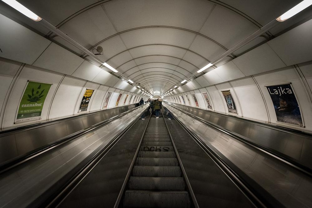 28 October 2017, Prague, Czech Republic: Namesti Miru metro station in central Prague.