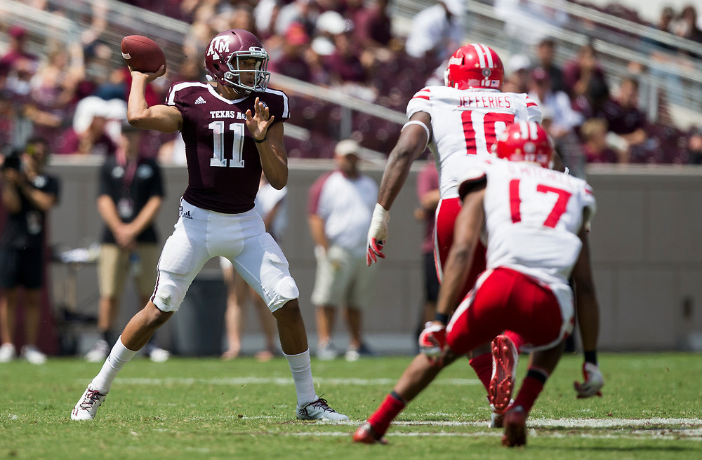 Texas A&M quarterback Kellen Mond (11) passes down field against Louisiana-Lafayette during the third quarter of an NCAA college football game Saturday, Sept. 16, 2017, in College Station, Texas. (AP Photo/Sam Craft)