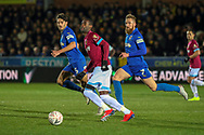 AFC Wimbledon midfielder Scott Wagstaff (7) battles for possession with West Ham United defender Ryan Fredericks (24) during the The FA Cup match between AFC Wimbledon and West Ham United at the Cherry Red Records Stadium, Kingston, England on 26 January 2019.