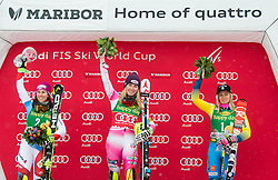 Second placed Wendy Holdener (SUI), winner Mikaela Shiffrin (USA) and third placed Frida Hansdotter (SWE) celebrate during Trophy ceremony after the 6th Ladies'  Slalom at 53rd Golden Fox - Maribor of Audi FIS Ski World Cup 2016/17, on January 8, 2017 in Pohorje, Maribor, Slovenia. Photo by Vid Ponikvar / Sportida