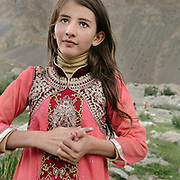 A Wakhi girl. Life in Chipursan valley, the most Northwestern part of Pakistan, bordering Afghanistan and China. The people speak the Wakhi Language and belong to the Ismaili sect of Islam.